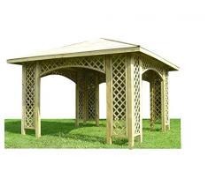 Stan-Wood PAVILLON 3m x 3m (Außenmaß 3,5m) HOLZPAVILLON MIT HOLZDACH, MIT RANKGITTER
