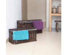 Relaxdays Truhe 2er Set geflochten Rattan eckig H x B x T: 26 x 50 x 29,5 cm stapelbare Korbtruhe mit herausnehmbarem Innenfutter waschbar ca. 28 L Rattantruhe atmungsaktiv und dekorativ, schokobraun