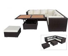 OUTFLEXX Loungemöbel-Set, braun aus Polyrattan-Geflecht, Loungeecke für 6 Personen, wasserfeste Kissenbox, inkl. Loungetisch