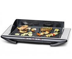 ROMMELSBACHER BBQ 2012/E Tischgrill Gourmet Deluxe (Elektrogrill Made in Germany, 2 getrennt steuerbare Grillbereiche, 3-Lagen Anihaftbeschichtung, 2000 W) Edelstahl, schwarz