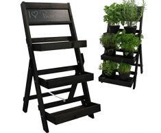PROHEIM Blumentreppe aus FSC® Holz in anthrazit Pflanzentreppe mit Kreidetafel Blumenregal mit Imprägnierung wetterfest und langlebig