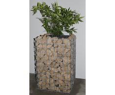 Gabionen Blumensäule eckig, Grundfläche 42 x 42 cm Maschenweite 5 x 5 cm, inklusive Pflanztopf feuerverzinkt (Höhe 62 cm)