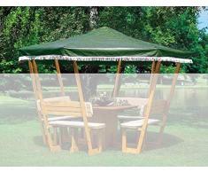Ersatzdach Pavillon ROSENHEIM wahlweise in weiß o. grün Gartenlaube Holzpavillon (Grün)