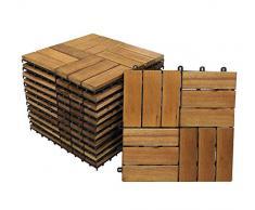 SAM Terrassenfliese 02 Akazien-Holz, FSC® 100%, 33er Spar-Set für 3m², 30x30cm, Bodenbelag, Drainage, klick-Fliesen