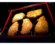 Pacoos Großer Grillkorb, Gemüsekorb und Backofenkorb mit Antihaftbeschichtung und rotem Rand - ca.32x27x3cm - ohne scharfe Ecken und Kanten !!!