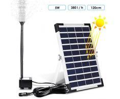 MVPower Wasserpumpe Solarpumpe Solar Teichpumpe Solarteichpumpe Gartenpumpe Springbrunnen für Gartenteiche, 5W 380L/H