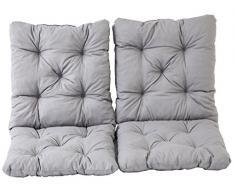Ambientehome 2er Set Sitzkissen und Rückenkissen Sessel Hanko, grau, ca 50 x 98 x 8 cm, Polsterauflage
