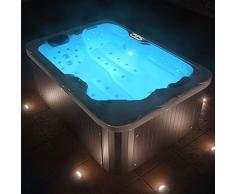 Tronitechnik Outdoor Whirlpool Spa LEVANZO weiß 195cm x 135cm mit Heizung, Hydromassage, Bluetooth und Farblichtherapie, Lieferumfang:inkl. Thermoabdeckung & Treppe