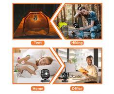 COMLIFE mini USB Ventilator  mit Led Licht  4400 mAh Batterie  Einstellbare Geschwindigkeiten,leise Tischventilator, Campinglüfter mit Hängehaken für Büro,Garage, Wohnmobil,Zelt   Tischlüfter