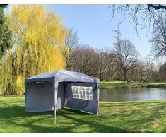 DeFacto Faltpavillon 3x3m Pavillon Gartenzelt Ink 2-Seitenteile Popup PVC- 100% Wasserdicht Tragetasche und Befestigung Seile und Nagel GRAU
