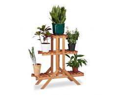 Relaxdays Blumentreppe 3 Ebenen, Aus Holz, Blumenständer für innen, Mehrstöckig, HBT: ca. 82,5 x 83 x 28,5 cm, hellbraun