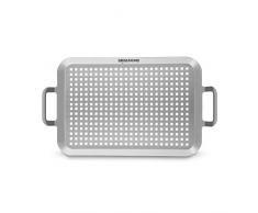 Edelstahl Grillplatte (37 x 25 x 1,8 cm) von Grillsome! Grillschale mit gitterförmiger Perforierung und Griffen als Grillzubehör, Grillkorb oder Servierschale für Gasgrill, korrosionsbeständig