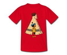 Yakari vor Indianerzelt Kinder T-Shirt von Spreadshirt®, 122/128 (7-8 Jahre), Rot
