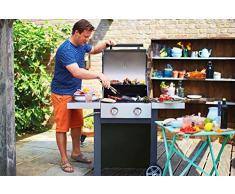 Jamie Oliver Gasgrill HOME 2 | Zweiflammiger Premium BBQ Grillwagen mit Thermometer & einklappbaren Seitenablagen - Barbecue mit robusten gusseisernen Rost & Warmhaltefläche