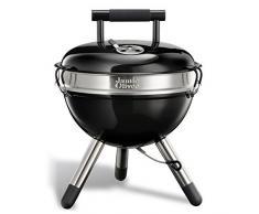 Jamie Oliver - C2140V - BBQ Holzkohle Grill Park, tragbarer Edelstahl-Kugelgrill mit Griff - schwarz, 38x18x38cm