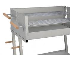 Jardinion Design Grillwagen, Stahl, 2 Grillroste verchromt, Holzkohle Grill BBQ Standgrill, 2 Rollen, Holzgriffe
