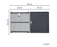 TAINO Basic 4+1 Gusseisen Rost Grillplatte Grillrost Zubehör Set Gasgrill Grill Wendeplatte