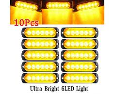 JZWDMD 10 Stück 6 LED 12 Auto LKW Warnung Vorsicht Notfallkonstruktion Wasserdichtes Leuchtfeuer Blitz Vorsicht Blitzstoßstange Grill Heck Arbeitslichtleiste