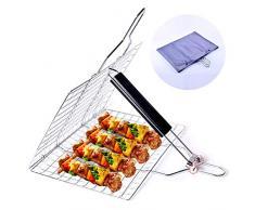 BovoYa Barbecue Grill Korb Abnehmbares Grillnetz Klappgitter Quadratischer Tragbarer Grill für BBQ Fisch, Steak, Fleisch, Gemüse, Outdoor Family Party BBQ Zubehör