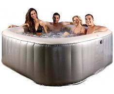 Miweba MSpa aufblasbarer Whirlpool Outdoor – 125 Massagedüsen + 6 Hydromassage Düsen - 6 Personen - Tüv GS geprüft – Elite Bliss E-BL06 Edition