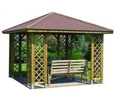 Stan-Wood PAVILLON GARTENLAUBE HOLZPAVILLON MIT HOLZDACH 3m x 3m (Außenmaß 3.45m) Pfostenstärke: 9 x 9 cm ! HÖHE QUALITÄT