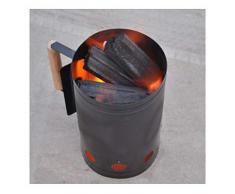 Barbecue-Feuer-Starter Barrel, Kohle Zündung Eimer, Pelletofen Hot Ashes Kohlenstoff-Ofen mit Holzgriff, für Outdoor-Kamin Grill Schwarz