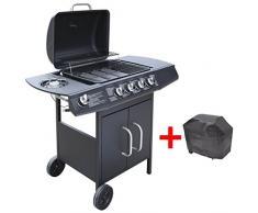 Festnight BBQ Gasgrill Barbecue-Grill Grillwagen Gas-Grill 4 Große Brenner und 1 Seitenbrenner Schwarz