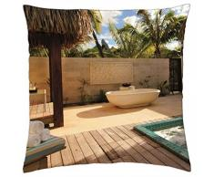 St Regis hotel and resort Bora Bora Beach villa jacuzzi outdoor bath - Throw Pillow Cover Case (18