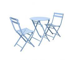 ZWJLIZI 3-teilige Falttisch/Stühle, Außen/Balkon/Gartentisch/Stuhl-Kombination (EIN runder Tisch + 2 Stühle), Schmiedeeisen, Plain einfacher Stil (Color : A)