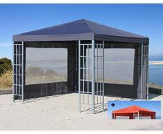 QUICK STAR Rank Pavillon Set 3x3m Metall Garten Partyzelt Anthrazit mit extra Ersatzdach