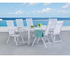 Gartenmöbel Set Weiss - Tisch 160 cm - 6 Stühle – Aluminium - CATANIA