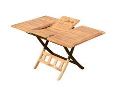 ASS Teak Ausziehtisch 100-140 x 80cm klappbar Holztisch Klapptisch Gartentisch Tisch JAV-AVES-AUSZIEH-100/140 Holz von