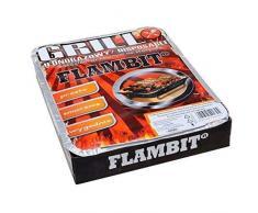 Flambit Einweggrill To go, mit Anzüghilfe, Holzkohle, Aluschale, 4er Pack (4 x Grill)