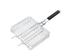 RoseFlower® BBQ Steak Grillkorb Grillwender Fisch und Gemüsehalter Hähnchenbräter Grill-Korb aus Edelstahl mit Griff - Ideal Barbecue Grillen Kit für Dad, Silber
