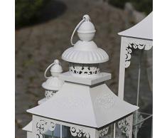 Grafelstein Laterne Chalet weiß H40cm mattweiß mit romantischen Details
