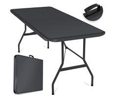 Kesser® Buffettisch Tisch klappbar Kunststoff 183x76 cm Campingtisch Partytisch Klapptisch Gartentisch für Garten, Terrasse und Balkon zusammenklappbar 6 Personen inkl. Tragegriff, Anthrazit
