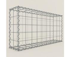 Steinkorb-Gabione eckig, Maschenweite 10 x 10 cm, Tiefe 20 cm, Spiralverschluss, galvanisch verzinkt (100 x 50 x 20 cm)