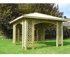 Stan-Wood GARTENLAUBE PAVILLON 3m x 3m (Außenmaß 3,5m) HOLZPAVILLON MIT HOLZDACH, RANKGITTER, SCHINDELN
