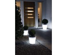 Konstsmide Assisi 7637-000 Pflanzentopf klein / B: 28cm T: 28cm H: 28cm / 15 warm-weiße LED / Kunststoff weiß