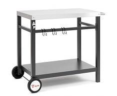 BBQ-Toro Grillwagen 85 x 50 x 81 cm   Metall Beistelltisch mit Edelstahl Arbeitsfläche   Rollwagen zum Grillen   Outdoorküche