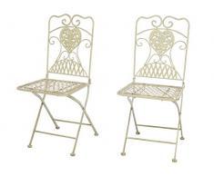 aubaho 2X Gartenstuhl Stuhl Bistrostuhl Garten Eisen antik Stil Creme weiß