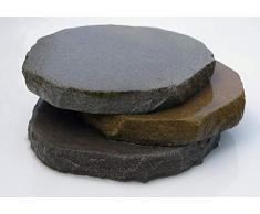 Splittprofi Trittplatte aus Ruhrsandstein grau/grau bis braun ca. D= ca. 30cm Trittstein Stepstone rund 1 Stück