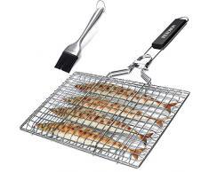 penobon Fisch-Grillkorb, zusammenklappbar, tragbar, Edelstahl, für Fisch, Gemüse, Garnelen mit abnehmbarem Griff, mit Backbürste und Aufbewahrungstasche