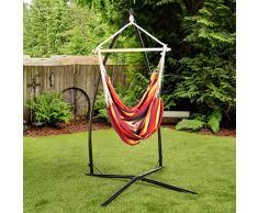 Ultranatura Hängesessel mit Querstrebe, Hängestuhl aus der Bali-Serie, bis 150 kg belastbar – XL Hängesitz für 2 Personen, für Garten, Terrasse und Haus, Stuhl zum Aufhängen, Regenbogen