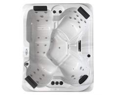 perfect-spa Whirlpool Atlanta Indoor / Outdoor 4 Personen Whirlpools Aussenwhirlpool Hot Tub Spa Außenwhirlpool Baboa Steuerung (Wanne SkyWhite, Außenverkleidung Schwarz)