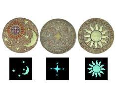 Trittstein, leuchtet im Dunkeln, Polyresin, 3 Motive, Dekostein (Himmelsrichtung)
