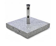 Nexos Sonnenschirmständer Granit eckig grau mit Griff Rollen Reduzierhülsen, Edelstahlrohr poliert 50 x 50 cm 50 kg Für Schirme bis 4 m