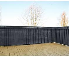 GARTENFREUDE Polyrattan Sichtschutz Balkon Matte Balkonsichtschutz Balkonblende Windschutz oder Zaun 5 x 0,9 m, zuschneidbar, inkl. Kabelbindern, anthrazit