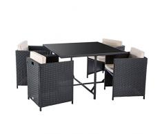 Ultranatura Gartenlounge Set Palma, Sitzgruppe Garten, Loungeset 5-teilig, Gartenmöbelset 4 Personen, Polyrattan Lounge mit Tisch, 4 Sessel & Auflagen