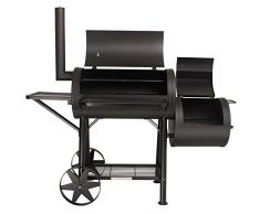 TAINO Yuma XXL 90kg Profi-Smoker massiver Räucherofen Holzkohle schwarz 3,5mm Stahl